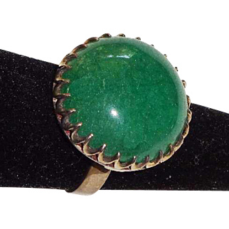 Vintage Large Green Onyx in Silver Setting Ring