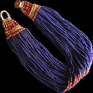 """Antique Naga Tribal Cobalt """"Royal"""" Glass Trade Bead Necklace"""