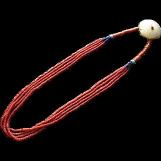 Antique Naga Tribal Whiteheart Glass Trade Bead Necklace