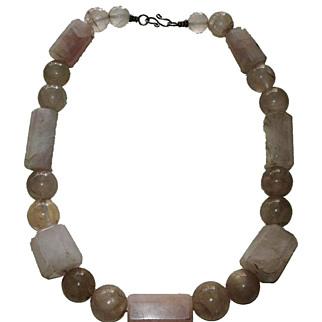 Antique Oversize Rose Quartz Bead Necklace