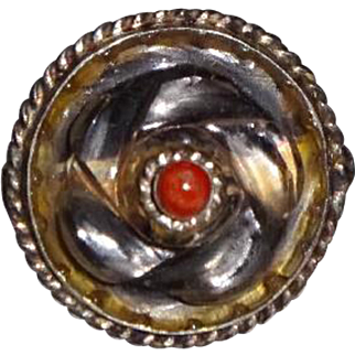 """Vintage Indian Silver & Crystal """"Swirl"""" Ring"""