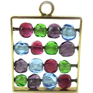 Movable 14k Gold Abacus Charm Fob Pendant Amethyst Ruby Peridot