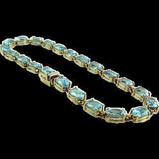 Vintage 14K Gold 12.5 CTS Blue Topaz Tennis Bracelet Size M