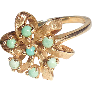 Vintage Mid Century 14K Gold Persian Turquoise Flower Ring Size 5
