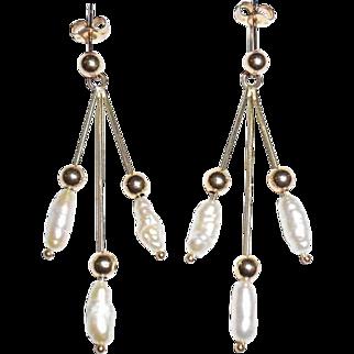 Vintage 14K Gold Pearls Long Shoulder Duster Earrings