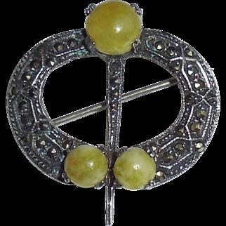 SALE Art Deco Irish Sterling Silver Green Scottish Agate Celtic Kilt Pin Hand Wrought