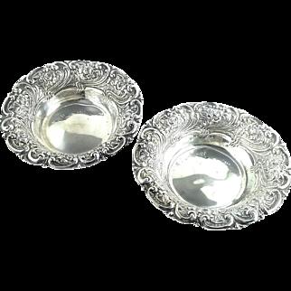 Pair of 2 Antique Repoussed Art Nouveau Sterling Silver Serving Bowls