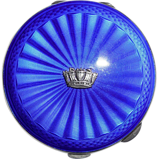 SALE Vintage Birmingham British English Sterling Silver Cobalt Blue Enameled Ladies Compact