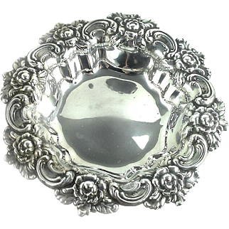 Fancy Repoussed Whiting Sterling Silver Serving Bowl Nut Berry
