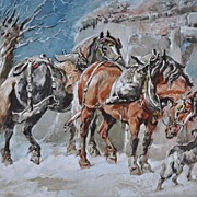 Winter Work Horses Watercolor/Gouache by Harden Sidney Melville Dated 1890