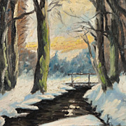 Charming Snowy Landscape Signed by Artist circa 1940