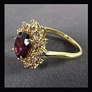 14K Yellow Gold Rhodolite Garnet & Pink Tourmaline Ring, Size 8 1/4
