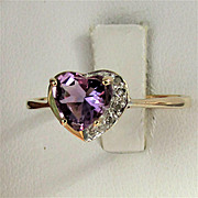 14K Yellow Gold Amethyst Heart Ring with Diamond Accents, Size 8