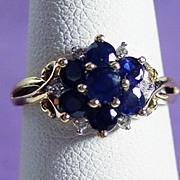 14K YG Blue Sapphire & Diamond Ring Size 5 1/4