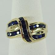 Classically Elegant Bokeo Sapphire Ring in 14K YG Size 5 1/4