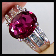 14K White Gold Natural Ruby Red Rubellite Tourmaline and Diamond Ring Size 5 1/4