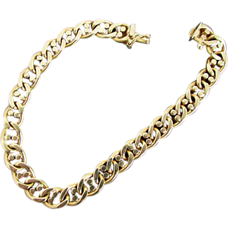 20.8 Grams 14K Italian Yellow Gold Marine Link Bracelet, 8 Inches Closed