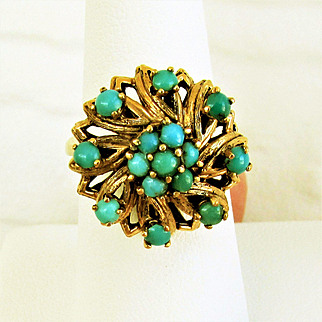 14K Gold Persian Turquoise Ring Size 7