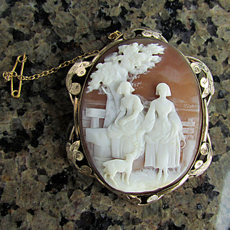 SALE Early Victorian Hand Carved Shell Cameo of 2 Maidens & Dog
