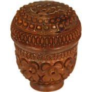 19th Century Carved Coquilla Nut Pounce Pot or Spice Shaker