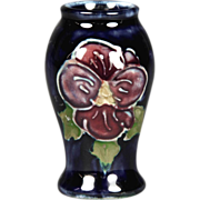 Desirable Miniature Moorcroft Pottery Vase Clematis Pattern
