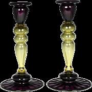 Fabulous Frederick Carder Era Steuben Candlesticks in Topaz & Amethyst