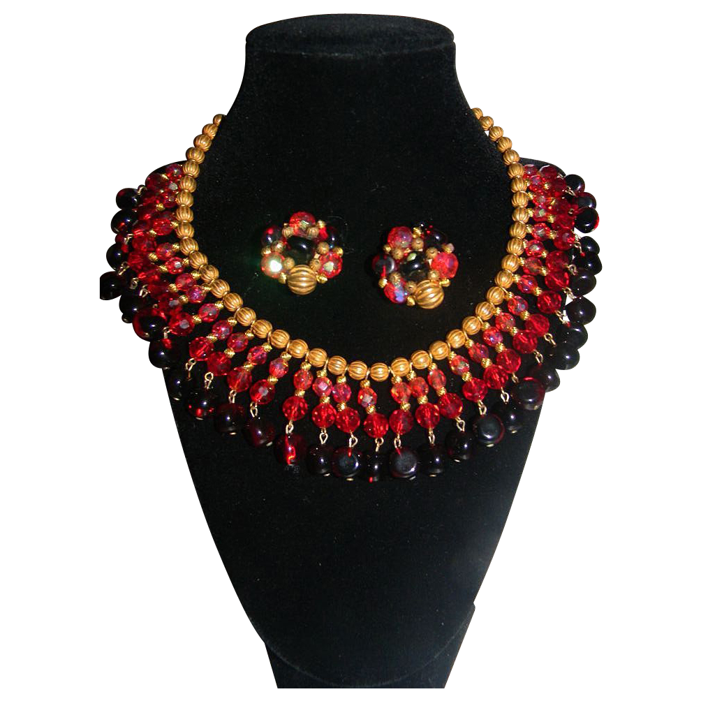 """House of Schrager- Vintage Signed """"JONNE""""  Gripoix Poured Glass Drippy Beaded Demi Parure. STUNNING!!!!!"""