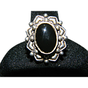 Vintage 925 Sterling Silver Black Onyx Cocktail Ring