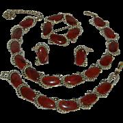 Vintage Signed KRAMER Butterscotch Swirled Grand Parure Necklace/Bracelet/Earrings/Brooch*Pin