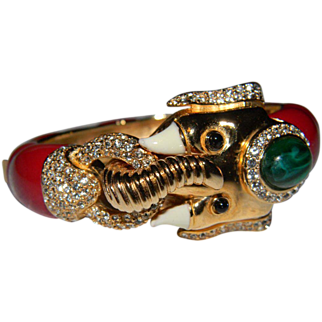 Gorgeous Signed CINER  Mogul Flawed Faux Emerald Cabochon, Vibrant Red Lacquered Enamel, and Rhinestone Encrusted Hinged Elephant Bracelet. JUST BEAUTIFUL!!!