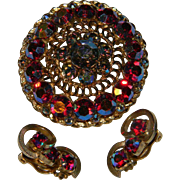 Vintage Ravishing Red  Aurora Borealis Large Layered Brooch and Clip On Earrings