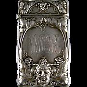 Antique Sterling Silver Match Safe c.1900 Gorham Bacchus Head Grape Vines