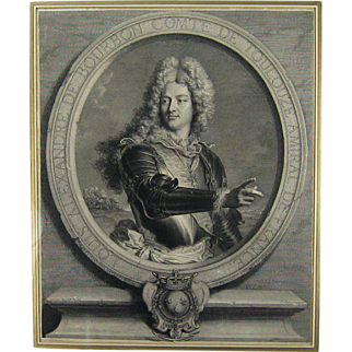 Antique Portrait Engraving 18thC Louis Alexandre de Bourbon, compte de Toulouse after Rigaud