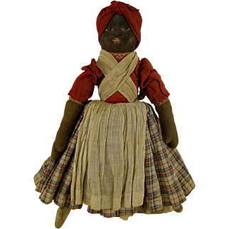 Babyland Rag Bruckner Topsy Turvy Doll c1900 Antique Cloth Face Dolls