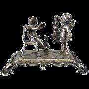 Antique Miniature 800 Silver Cherubs with Dog & Rabbit c1900 Figurine