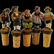 Collection 5 Carved Bottle Stopper Vintage German Wood Dancer Musician