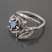 Ring Sterling Silver Moissanite Black Diamond