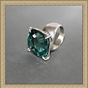 Ring Sterling Silver Huge Green Amethyst One-Of-A-Kind
