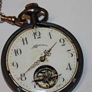 BonHeur rare Swiss  pocket watch w Bates and Bacon Fob
