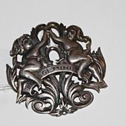 Sterling Silver Peruzzi Gemini large zodiac pin brooch!