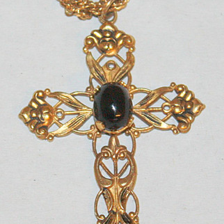 Vintage gold wash Creed sterling cross w stone necklace