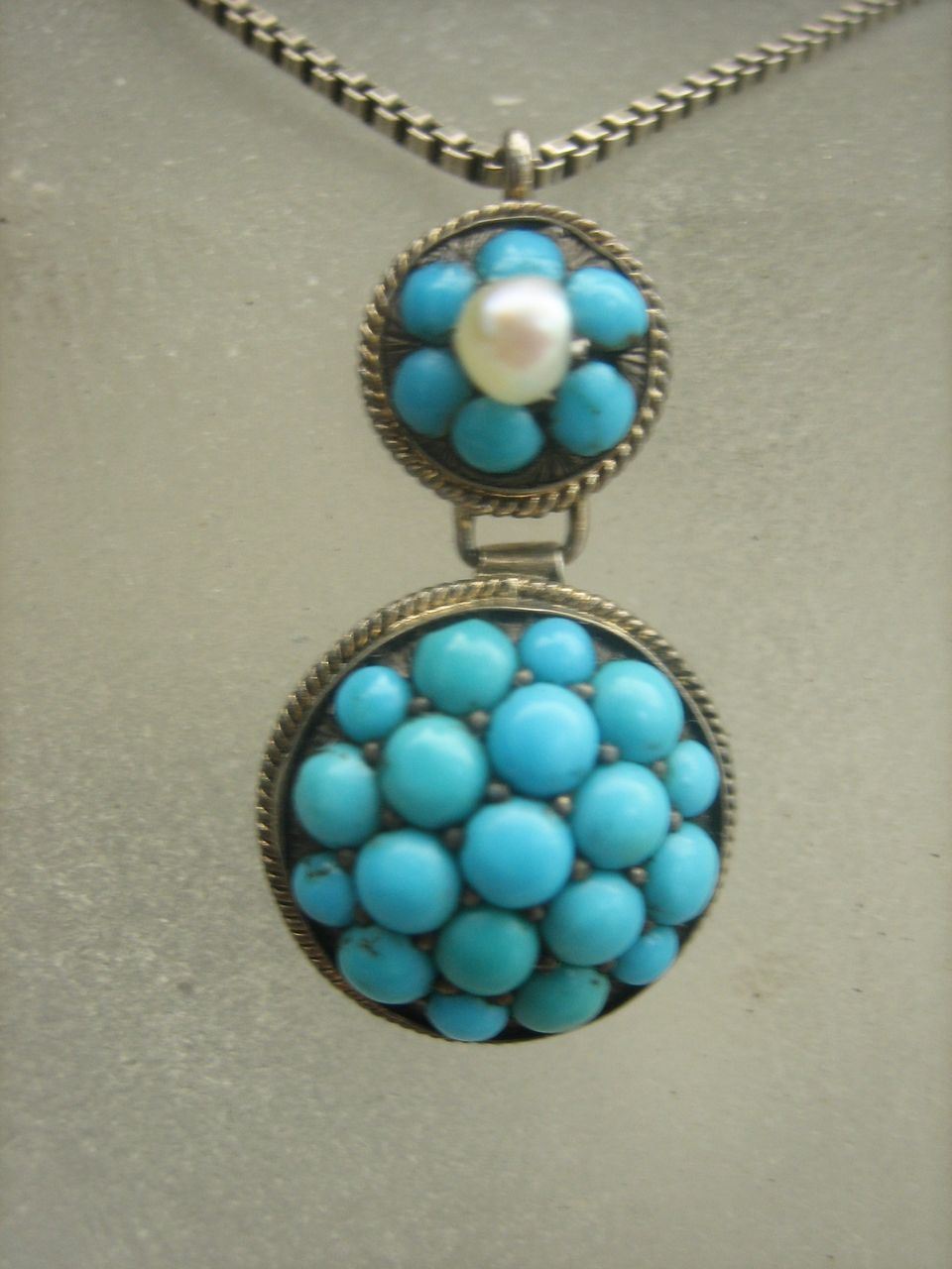 . Antique Georgian Sterling Silver Persian Turquoise and Natural Pearl Pendant Necklace MINT