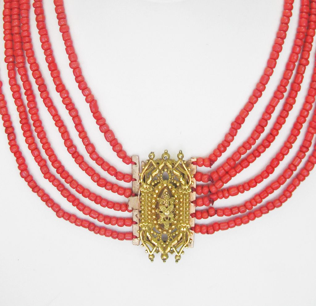 ..Antique Georgian Pinchbeck and Six (6) Strand Coral Necklace