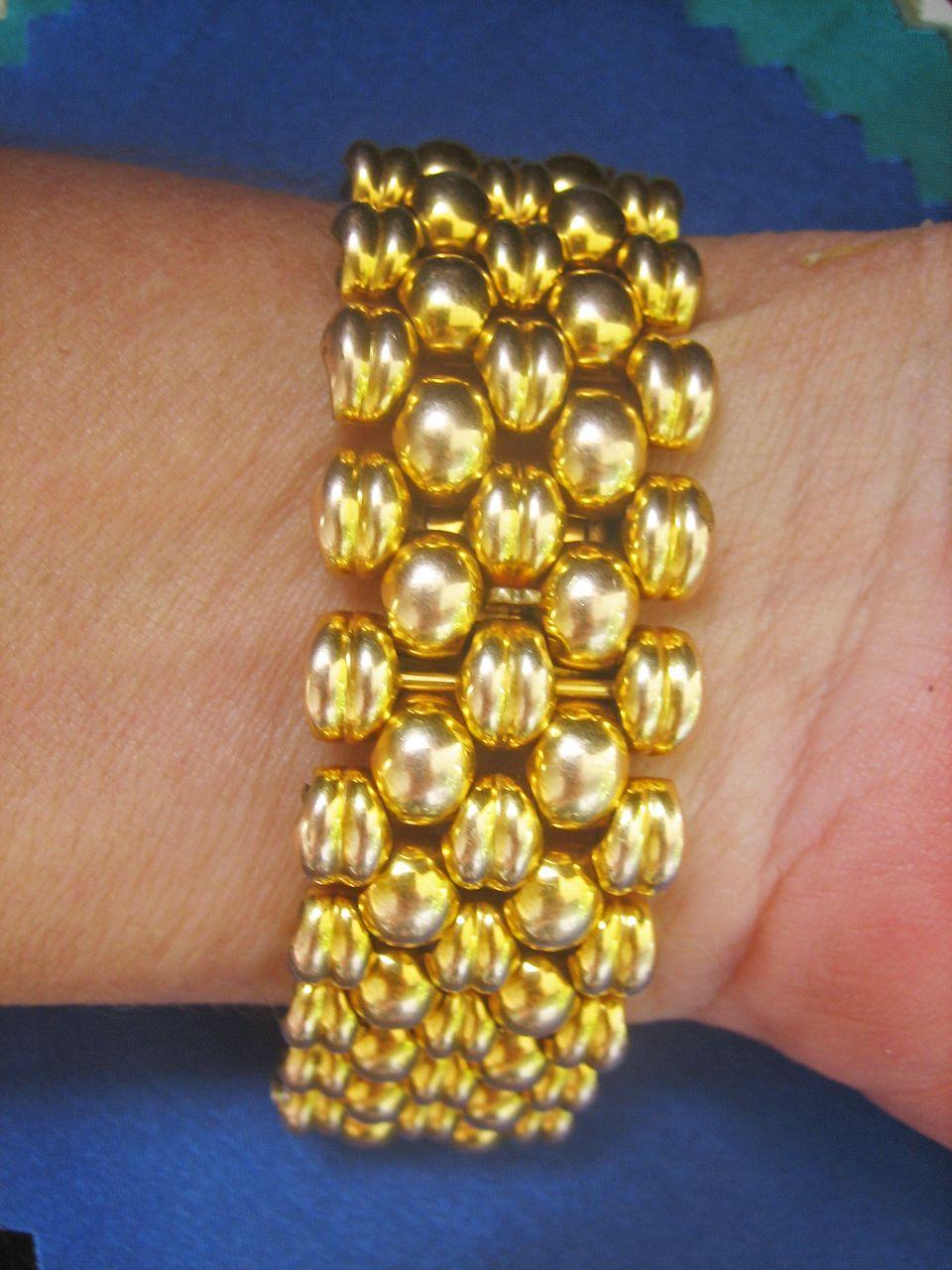 Vintage Art Deco Swiss Gold Plated (20 Microns) Woven Bracelet