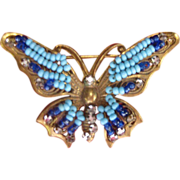 Vintage Miriam Haskell Turquoise Rhinestone Butterfly Pin