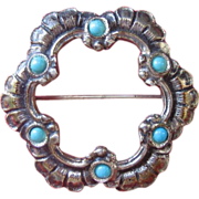 Antique Edwardian Continental 800 Silver Persian Turquoise Pin
