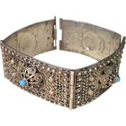 ..Vintage Sterling 1920's Ottoman Empire Turquoise Bracelet