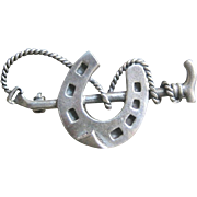 Antique Edwardian Sterling Lucky Horse Shoe Pin
