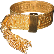 Vintage 1940's Greek Key Gold Plated Tassel Slide Bracelet