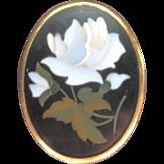 Vintage Large Pietra Dura 18 kt Pin Pendant